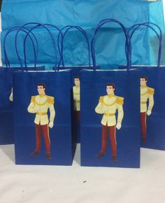 Disney Prince Charming Birthday favor bag by FantastikCreations Disney Princess Birthday Party, Princess Theme Party, Prince Birthday, Cinderella Birthday, Tinkerbell Party, Cinderella Prince, Princess Party Decorations, Birthday Party Decorations, Birthday Favors