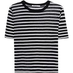 T BY ALEXANDER WANG Cropped Stripe Linen Tee Black // Striped T-shirt (£115) ❤ liked on Polyvore featuring tops, t-shirts, hoodies, shirts, striped crop tops, linen tee, linen t shirt, stripe tee and stripe t shirt