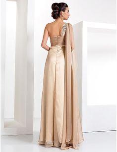 bainha / coluna de um ombro até o chão chiffon vestido de noite - BRL R$ 242,94
