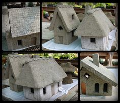 Hypertufa Fairy Houses - blog post about a class the blogger took, some info provided - click on the link to the class for more info - not a tutorial, but a little help for how to make a hypertufa fairy house  ********************************************  Aliceandbridget - #hypertufa #fairy #house #cottage #garden #miniature hh