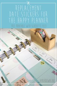 free printable date stickers for the happy planner Use these blank stickers to change the date on your planner. Works for Erin Condren as well! Silhouette file included.