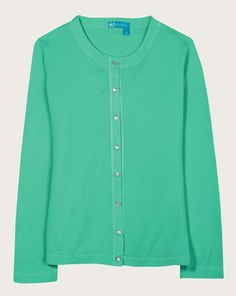 Essential Cardigan in Spring Green, 100% cotton, made in USA, from Fresh Produce