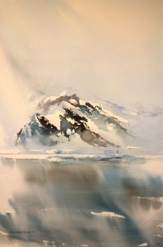 """""""Nord"""" by Hilde Eilertsen Sletvold - Hole Artcenter as Watercolor Artists, Watercolor Landscape, Abstract Watercolor, Watercolor And Ink, Abstract Landscape, Watercolour Painting, Landscape Paintings, Watercolours, Winter Landscape"""
