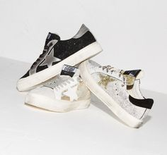 Scarpe Golden Goose Donna Saldi - Golden Goose May Sneakers In Leather With  Leather Star Golden 88db1bccb0f