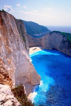 This is Zakyuthos Island in Greece.  The blue water is amazing!
