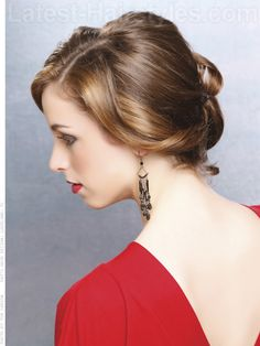 Twisted Medium Brown Updo - Side View