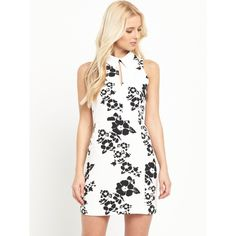 V By Very Collar Detail Shift Dress (£21) ❤ liked on Polyvore featuring dresses, floral print dress, shift dress, high neck dress, floral cut out dress and white cut out dress
