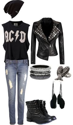 Best style rock chic rocker chick grunge 27 ideasYou can find Rocker style and more on our website. Komplette Outfits, Grunge Outfits, Casual Outfits, Fashion Outfits, Batman Outfits, Polyvore Outfits, Rock Chic Outfits, Tomboy Outfits, Hipster Outfits