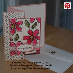 This colourful birthday card uses the Garden in Bloom Stamp Set and English Garden Designer Series Paper from Stampin' Up!  http://tracyelsom.stampinup.net