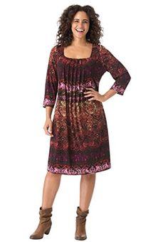 Fashion Women's Plus Size Pleated Front Dress www.fashionbug.us #plussize 1X 2X 3X 4X 5X 6X