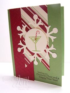 stamp it with Jen: Christmas Card Cocktail card using Stampin Up Set Happy Hour!