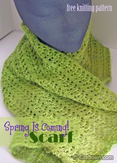 Free Knitting Pattern - Spring Lace Scarf. Perfect for crisp spring weather!  #craftown #crochet