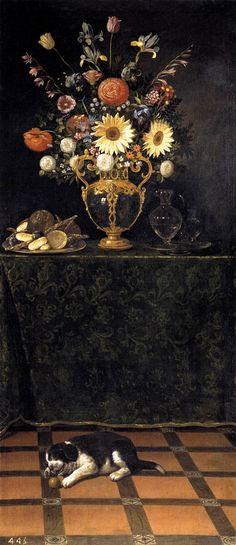 "renaissance-art: "" Juan van der Hamen c. 1625-1630 Still Life with a Puppy """
