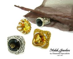 Smokey Quartz Ring, Citrine Diamond Rings, and a Black Onyx Ring from Malak Jewelers
