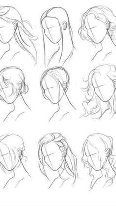 Art Drawings Sketches Simple, Pencil Art Drawings, Cute Drawings, Hair Drawings, Girl Hair Drawing, Anime Hair Drawing, Drawing Anime Bodies, Manga Hair, Cute Sketches