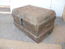 Damaged 2u0027 Vintage Metal Trunk Coffee Table Tool Chest Kindling Box Storage  Old