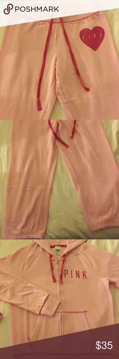 Victoria's Secret PINK matching sweats/zip hoodie VS PINK bubblegum pink matching cropped sweatpants & zip-up hoodie. Sold together or make offer for one piece, if you want. Has darker pink contrast stitching. Fits true to size. Washed & worn maybe 3 times, but in brand new condition. Perfect transition piece for Fall! Pictures aren't great but it's a cute outfit. The back of hoodie is plain & sweatpants have the front matching graphic on left hip with two pockets on the back. Very simple…