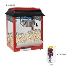 Best Kitchen Cart | Paragon 1911 Style 6 Ounce Red Popcorn Machine for Professional Concessionaires Requiring Commercial Quality High Output Popcorn Equipment * More info could be found at the image url. Note:It is Affiliate Link to Amazon.