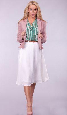 Mauve Blazer, White Circle Skirt and  Blush Mary Jane Wedges