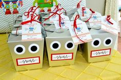 Robot Party Bags boxes for childrens favours, lollies and mini toys