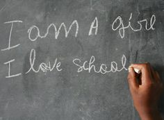 """I am a girl. I love school."""