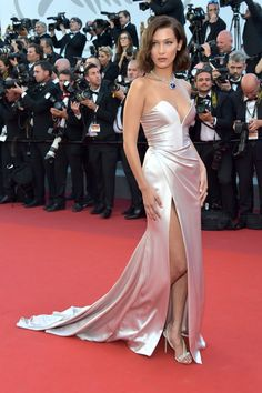 Bella Hadid dressed in Alexandre Vauthier gown at the Opening Gala during the 70th annual Cannes Film Festival at Palais des festivals on May 17, 2017 in Cannes, France.