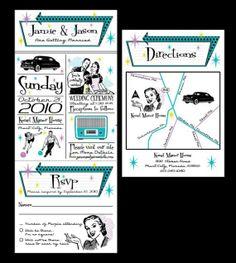 Retro  Vintage 1950's Wedding Invitation set with by jamiekonet, $8.50