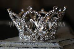 Her Royal Highness Mini Rhinestone Tiara Princess Crown Metal Rhinestones Silver Birthday Party Queen Of Hearts