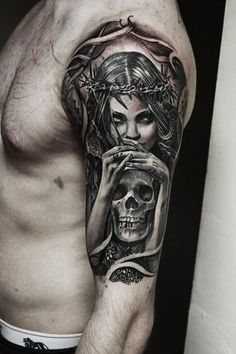 Left Half Sleeve Death Tattoo Designs For Men