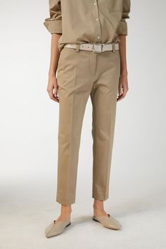 26c9361a9a21 Model side image of Arket cotton stretch chinos in beige Beige, Bomull,  Mode,