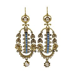Antique Seed Pearl Turquoise Diamond Earrings | From a unique collection of vintage dangle earrings at https://www.1stdibs.com/jewelry/earrings/dangle-earrings/