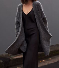 #black #dress #coat