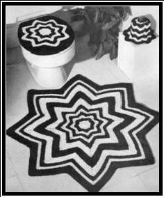Free crochet patterns for Bathroom Rug, Seat Cover and Tissue Topper  I just want the floor rug!
