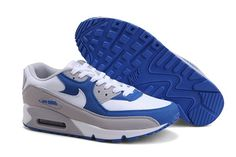 Mens Nike Air Max 90 Trainers Blue/Grey/White