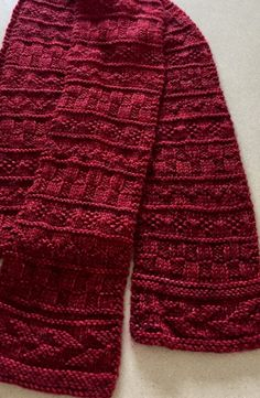 Free Knitting Pattern for Gansey Sampler Scarf - Scarf with sections of textured stitches. Bulky yarn. Designed by Shannon Dunbabin. Pictured project by patknitsocks.