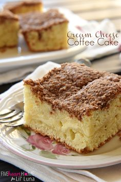 Delicious Cream Cheese Coffee Cake - can't get better than this!! Recipe on { lilluna.com } Coffee cake swirled with cream cheese and topped with a cinnamon streusel!