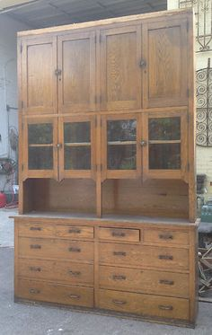 Old Finish 2 Piece Step Back Early Cupboard CabinetCupboards
