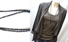 2 x Ketten, Y-Kette, schwarze Glasperlen & zierliche Metallperlchenkette silber