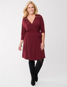 Full Figure Wrap Dress with zippers by Lane Bryant | Lane Bryant