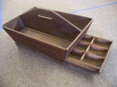 22in x 15in (top area) primitive wood caddy..carpenter/ blacksmith/ ferrier/ garden/ tote or box.RARE!!