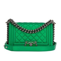 31d1cdd0b0b Chanel Green Metallized Small Boy Bag Green Shoulder Bags, Chanel Shoulder  Bag, Shoulder Strap