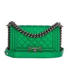 Chanel Green Metallized Small Boy Bag