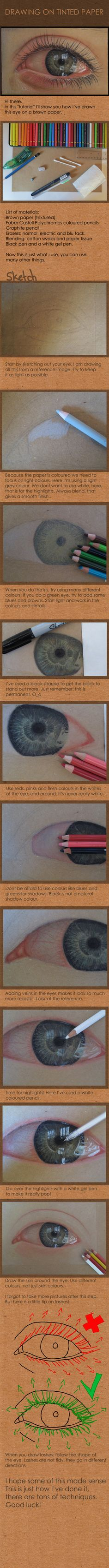 Drawing on tinted paper: Eye by *acjub on deviantART