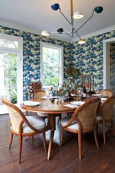 Transitional Dining Room by Taylor Jacobson Interior Design Wallpaper: Raphael by Sandberg