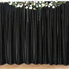 Photo Booth Backdrop, Backdrop Stand, Black Curtains, Panel Curtains, Velvet Color, Black Velvet, Black Party Decorations, Parties Decorations, Backdrop Decorations