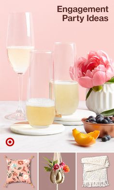 Planning a spring engagement party? Find charming decor ideas to turn any space into a boho breakfast or brunch alcove. Alcoholic Punch Recipes, Alcohol Drink Recipes, Alcoholic Drinks, Beverages, Bridal Shower Decorations, Bridal Shower Favors, Bridal Showers, Baby Showers, Wedding Decorations