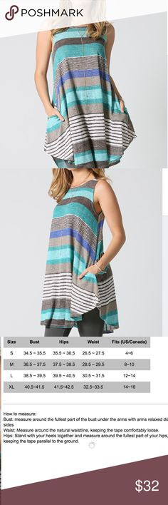 """❌SOLD❌ Turquoise Pocket Swing Tunic. Colorful Swing Tunic/Dress. Sleeveless. Side pockets.  76% polyester 24% spandex. Hand wash. Classy, comfortable, and cute.  Shoulder to hem- 27-31"""". (Assymetrical hem). Tops Tunics"""