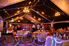 40x60 Tent with Clear Roof Panels and Chandeliers