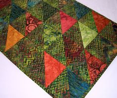Volcano Batik Table Runner Triangles Quilted