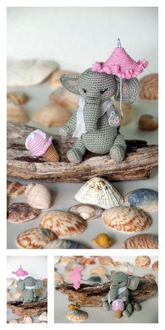 Amigurumi The Friendly Elephant Free Pattern – Free Amigurumi Patterns Amigurumi Patterns, Amigurumi Doll, Crochet Patterns, Small Elephant, Little Elephant, Crochet Animals, Crochet Toys, Little Unicorn, Last Stitch